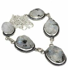 """Rough Fire White Rainbow Moonstone Opal 925 Sterling Silver 19"""" Necklace #N01945"""