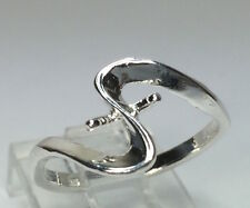 Sterling Silver Ring Setting For (2) 4-6mm Half-Drilled Pearls Size 7