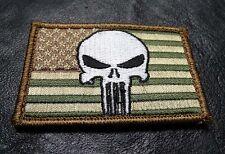 USA FLAG PUNISHER EMBROIDERED TACTICAL MILSPEC MORALE HOOK PATCH
