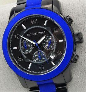 Michael Kors RUNWAY MK8756 Men's 45mm Black/Blue Chronograph Watch NEW