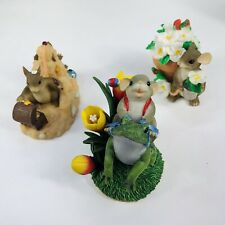 "3 Fitz and Floid ""Charming Tails"" Collectables. Frog, Sand and flower pot"