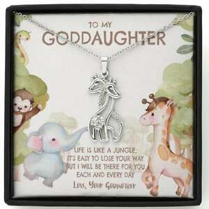Goddaughter Necklace, Goddaughter Gift from Godmother Giraffe Pendant Jewelry