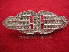 """Broche """"Double Boucle de Ceinture"""" cristal Blanc - Bijoux Vintage Sphinx"""