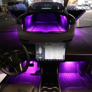 2Pcs Car Interior Light Pink Ambient LED Lamp Upgrades Kit For Tesla Model 3 S X