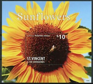 St Vincent & Grenadines Flowers Stamps 2014 MNH Sunflowers Helianthus 1v S/S II
