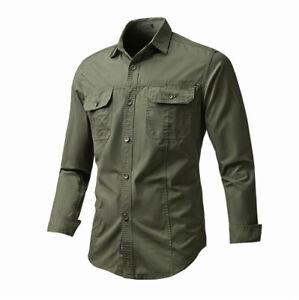 Men's Spring/Fall Tactical Military Cotton Shirts Cargo Pocket Long Sleeve Tops