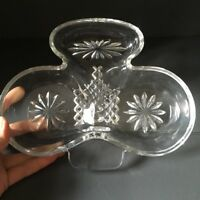 Vintage Clover Nut Bowl Dish Crystal Cut Glass Trinket Irish sweets display gift