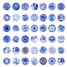 100 x SteelBlue Half Round Dome Blue White Floral Printed Glass Cabochons 25x7mm