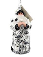 Patricia Breen Songbird Santa Chinoiserie Black Silver Spring Holiday Ornament