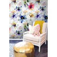 Summer flowers  colorful blue and green wall mural  wallpaper