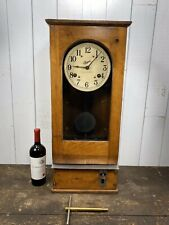 Antique Simplex Oak Time Recorder Co Wall Clock Made In USA