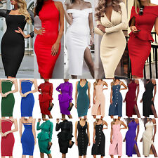 Womens Sexy Bodycon Midi Dress Ladies Formal Evening Cocktail Party Club Dresses