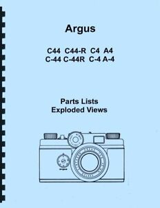 Argus C44 C44-R C4 A4 Parts List with Exploded Views for Service & Repair