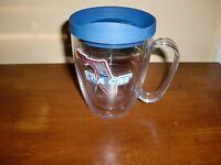 ~TERVIS~16 FL OZ~TUMBLER MUG~W/LID~MINT~FLA-CAT~INSULATED GLASS~CLEAR/BLUE~NICE