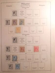 RARE Page of Philippine Stamps dated 1890-97 w/  King Alfonso XIII of Spain