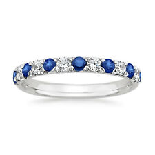 Round Cut 0.50 Ct Sapphire Diamond Wedding Band 950 Platinum Ring Size M N O