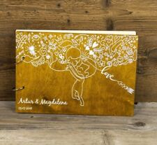 UV Printed Personalized Wooden Wedding Guest Book, Rustic, Lovers