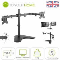 """Dihl Double Dual Display Computer Monitor Arm Mount Desk Stand 13-27"""" Screen LED"""