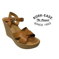 Women's Korks by Kork-Ease Strappy Sandals Shoes Size 10 Brown Leather
