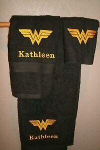 Wonder Woman Personalized 3 Piece Bath Towel Set Comic Book Your Color Choice