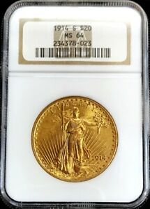 1914 S GOLD $20 SAINT GAUDENS DOUBLE EAGLE COIN NGC MINT STATE 64
