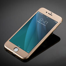 iPhone 6 Plus 6+ Tempered Glass Protector Case Full Edge Curved Titanium - Gold