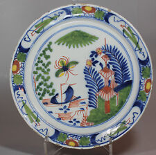Antique Dutch Delft polychrome pancake plate, circa 1769