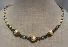 BRASS FILIGREE WHITE PEARL AQUAMARINE AB GLASS NECKLACE RENAISSANCE VICTORIAN