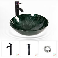 Bathroom Vessel Sink Tempered Glass Counter Top Vanity Basin Bowl Faucet Combo