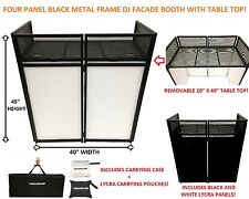 "DJ Event Facade White/Black Scrim Metal Frame Booth + 20"" x 40"" Flat Table Top"