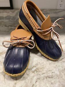 LL BEAN Duck Boots Women 7 Blue Short Ankle Shoes Leather Waterproof Gum Slip On