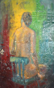 European abstract nude oil painting signed
