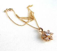 Women 18K Yellow Gold Plated Simulated Diamond Star Flower Pendant Necklace UK