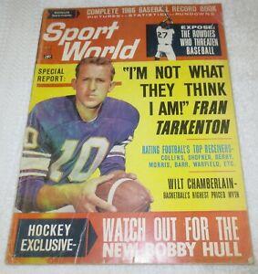 ☆ 1966 SPORT WORLD MAGAZINE - Fran Tarkenton / Wilt Chamberlain / Bobby Hull