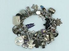 Vintage Sterling Silver Charm Bracelet With 37 Charms 96 Grams Most Are Sterling