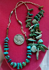 """Pawn Natural Carico Lake Turquoise Tiny Heishi Necklace 16"""" & 7.5""""L Extender Set"""