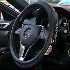 NEW 38CM Car Steering Wheel Cover For Cadillac Black Genuine Leather Nice