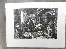 """Michel JAMAR Gravure originale 1980 n° signée """"Le Chimiste"""" Nancy Lorraine"""