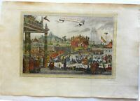 Court of the Mughal Emperor India Elephants Camels Soldiers Fountain 1752 print