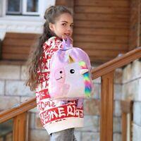 Women Girls Unicorn Sequin Fluffy Backpack Plush School Bag Handbag Kids Vogue