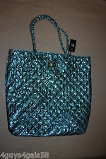 Womens Tote Bag Metallic Turquoise Large Purse Quilted Look Braided Chain Handle