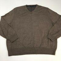 Club Room Sweater Mens 2XL? Brown V Neck Merino Wool Knit Lightweight Pullover