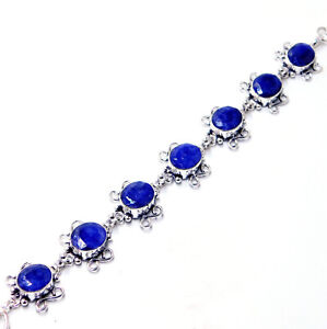 Natural Blue Sapphire 925 Sterling Silver Plated Jewellery Bracelet 19 Gm