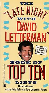 """DAVID LETTERMAN """"THE LATE NIGHT WITH DAVID LETTERMAN BOOK OF TOP TEN LISTS"""" 1990"""