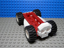 LEGOS 4 Wheeled Red Vehicle White Bumper Side Attachments SKULL Grill SPIDER-MAN