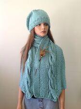 Hand Knit Hat Shawl Set Beanie Beret Slouch Scarf Aqa Designer Fashion  Hip