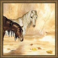 Horses In The Rain Embellished Cross Stitch Kit Riolis