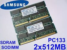 1GB 2x512MB PC133 SDRAM CL3 SO-DIMM 144 pin LAPTOP SODIMM RAM PORTATILE MEMORIA