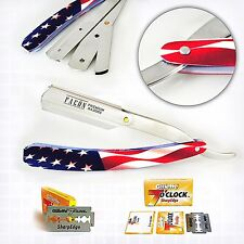 PROFESSIONAL BARBER SALON STRAIGHT CUT THROAT SHAVING RAZOR SHAVETTE BLADES FLAG