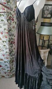 Free People Maxi Dress Black XL Linen Blend Jersey Feel bnwt